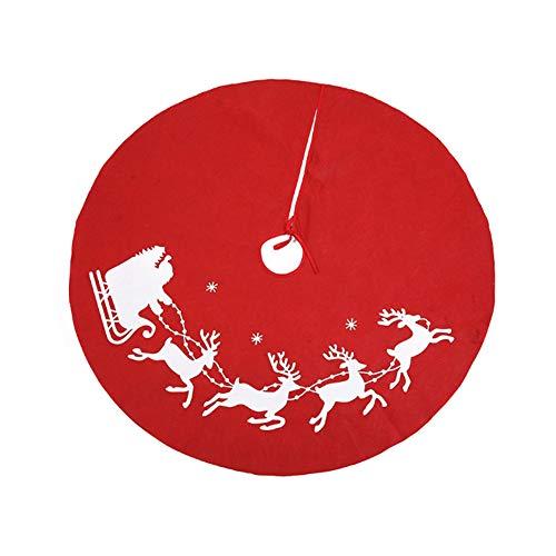 Meiwash Gonna Albero di Natale Copertura Rotonda Albero di Natale Copertura per Pavimento Tappetino Ornamenti Tappeto Pieghevole di Natale Capodanno Decorazione per Feste (Red, 80cm)