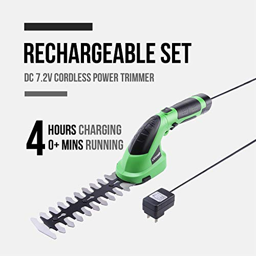 Lichamp Cordless Hedge Trimmers, 7.2V Electric Grass Shears Shrub Trimmer Hand Held Battery Powered Rechargeable for Garden and Lawn Greenwork