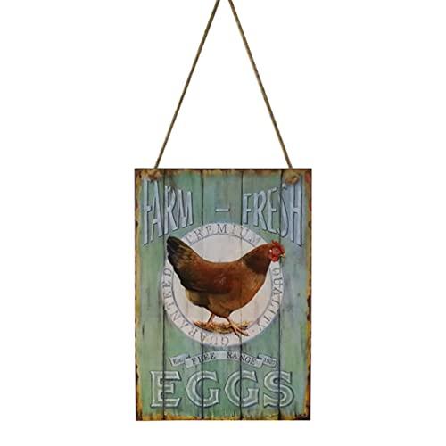 HEALLILY Signo Creativo de Huevos Frescos de Madera Retro Vintage para La Decoración Del Hogar Granja (Huevos Frescos de Granja)