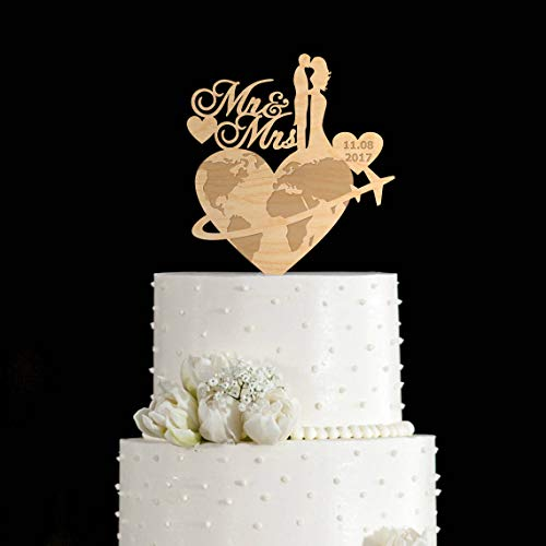 Décoration de gâteau de voyage de mariage pour gâteau de voyage de mariage sur le thème de voyage de mariage pour avion