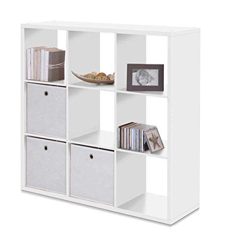 lifestyle4living Bücherregal in Weiß mit 9 Fächer | Aufbewahrungs-Regal ist für Ordnungsboxen geeignet | Raumtrenner ist 107 cm breit