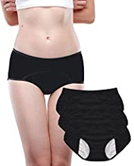 RELAX from heavy flow :Full coverage area from the front to the back, active or sleep in safe of any leakages.No more embarrassing moments Enjoy the soft touch: 95% Bamboo viscose fabric,5% spandex. Leakproof lining.Useful protective brief,easy to cl...