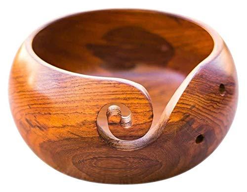 Soporte de cuenco de madera de palisandro para tejer con agujeros y accesorios de hilo de ganchillo (color: madera)