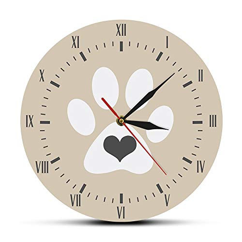 Corazón Gris Gato Blanco Paw Print Números Romanos Reloj de Pared Moderno Vintage Kitty Hello Kitty Lovers Decoración del hogar...