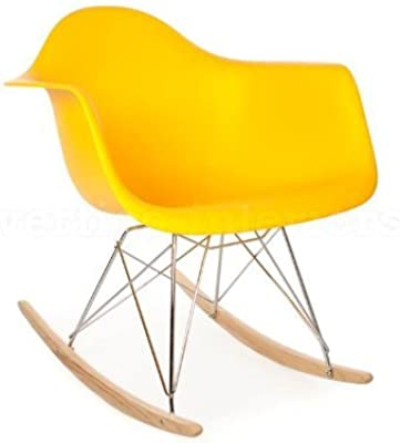 ModHaus Mid Century Modern Eames Style RAR Yellow Rocking Rocker Chair Nursery Living Room