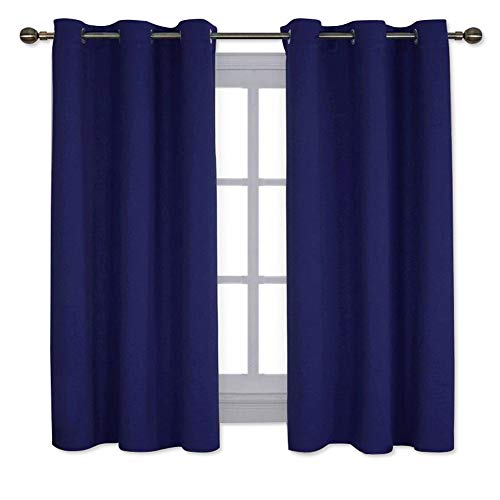NICETOWN All Season Thermal Insulated Solid Grommet Top Blackout Curtains/Drapes/Panels for Kid's Room (Navy Blue, 1 Pair, 42 x 63 Inch)