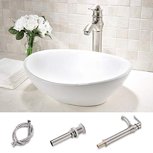 HLBLFY oval Bathroom Sink and Faucet Combo -oval Above Counter White Porcelain Ceramic Bathroom Vessel Sink Basin Washing Bowl Set, Brushed Nickel Single Lever Faucet Matching Pop Up Drain Combo