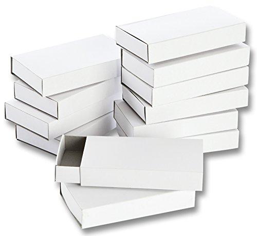 folia 2407 - Streichholzschachteln, ca. 11 x 6 x 2 cm groß, 12 Stück, blanko weiß, zum Selbstgestalten