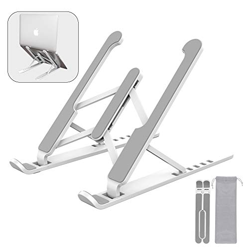 AEHKVA- laptop stand, foldable laptop stand, 6-layer laptop ventilation computer bracket, suitable for MacBook Pro air, iPad, ipadmi, Dell, 7.9-15.6 inch Laptop, tablet (White)