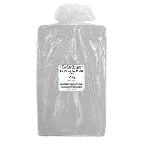 DistrEbution 10 kg Paraffinwachs 56-58°C in Platten/Tafeln, für Kerzenherstellung, Kerzen gießen, weiß bis leicht transparent