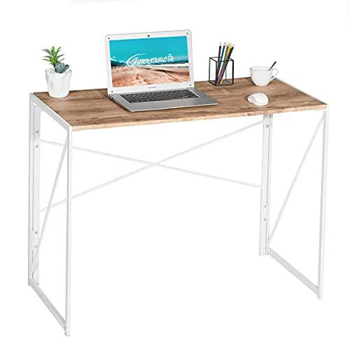 FurnitureR Sin Ensamblaje Mesa Plegable Auxiliar Escritorio Estilo Moderno y del Norte de Europa Imitación Madera (100x50x75.5 cm)...
