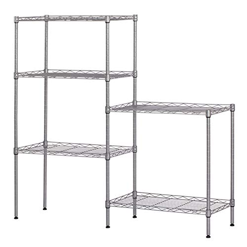 LeafRed C Changeable Assembly Floor Standing Carbon Steel Storage Rack Silver Shelves, Space Saver for Home, Office