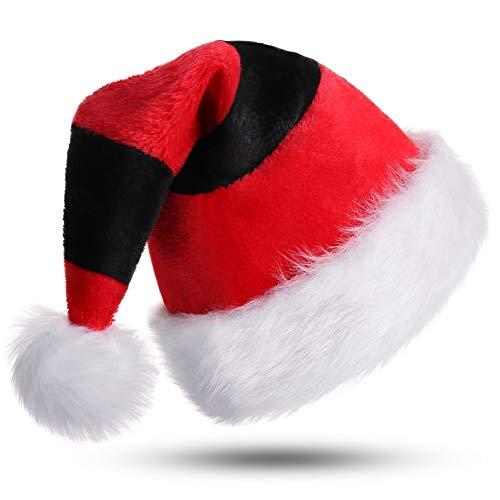 CITÉTOILE Weihnachtsmütze Nikolausmütze Dicker Fellrand aus Plüsch Nikolaus Mütze Weihnachtliche Mütze Für Erwachsene Weihnachtsfeier Weihnachtsmarkt Neuheit Streifen Rot&Schwarz