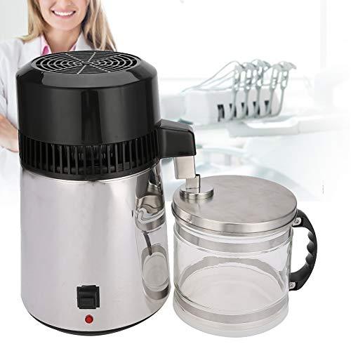 Wakects 4 L Wasserdestillierer, 750 W Wasserreiniger aus Edelstahl Wasserdestillationsset,Filter Destillierapparat Reinwasser Wasserbrenner Innenbehälter mit Auffangflasche,EU 220V(Schwarz)