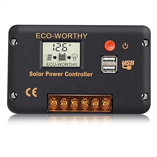 ECO-WORTHY 20A 12V / 24V Solar PWM-Laderegler, Controller mit LCD-Display und Doppel-USB-Anschlüsse, Überlastschutz für Batterie