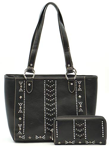 American Bling By Montana West Concealed Carry Purse and Wallet 2 Piece Handbag Set - Western Design AB-5603BK