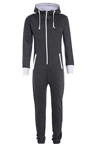 Fashion Kinder Jungen Mädchen Unisex Plain Strampler mit Kapuze In einem Jumpsuit Größen 7-14 Jahre Black & grau