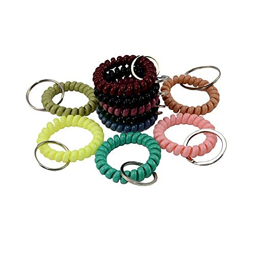 Espiral muñeca bobina llavero 10pcs color plástico primavera pulsera banda para oficina talleres-centro comercial Sauna y..
