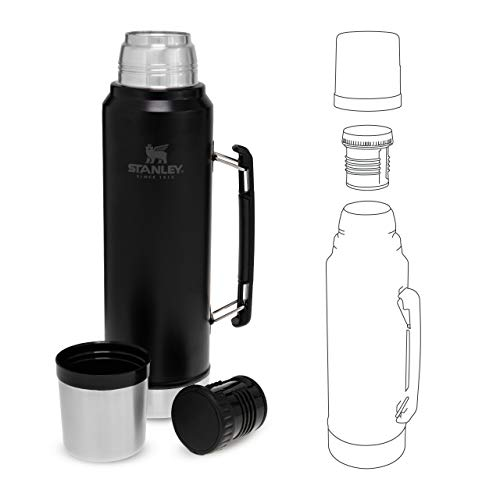 Stanley Classic Legendary Bottle BPA Stainless Steel Thermos-Keeps Cold or Hot for 24 Hours, Matte Black, 1L