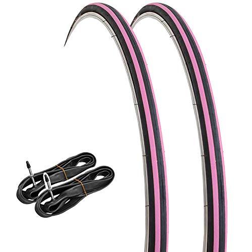 GORIX Rennrad-Reifen, 700 × 23 C, 2 Reifen + 2 Schläuche, Schwarz × Pink