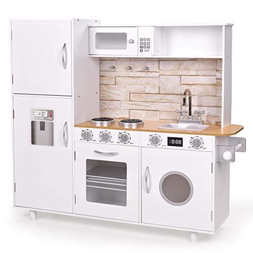 Froggy Kinderküche aus Holz Spielküche für Kinder Kinderspielküche Holzküche Weiss mit Kühlschrank, Ofen, Waschmaschine