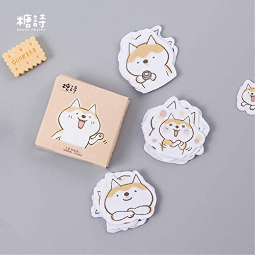 JUNZE Cute Dog Duo Original Exquisite Hand-Painted Illustrations Hand Account Stickers Stickers Boxed 45Pcs