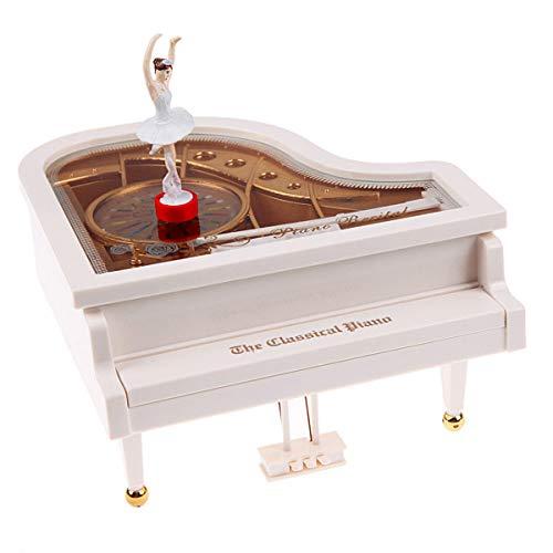 Techson Dancer Piano Music Box, Ballerina Musical Auto Mechanical, Girls Lovely Decoration (White)
