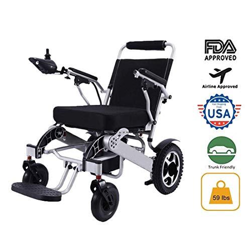 41caezzMA3L - WISGING 2020 Silla de ruedas eléctrica portátil plegable ligera plegable Deluxe Potente motor twin Silla de ruedas compacta con ayuda de movilidad - Pesa solo 59 lbs con batería - Soporta 286 lbs
