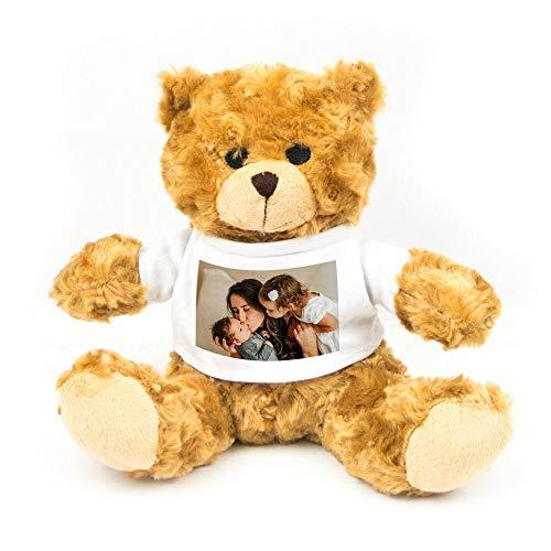 Geschenke.de Personalisierbarer Teddy-Bär mit Foto - Kuschelbär als Geschek für Kinder