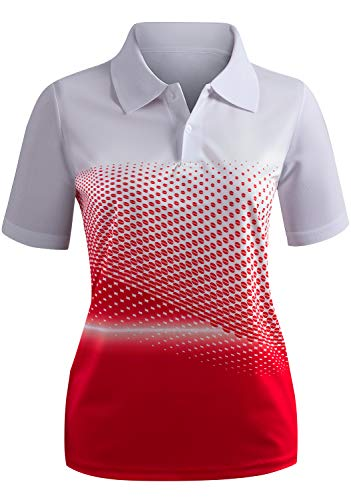 CLOVERY Highly Breathable Quick Drying Short Sleeve Casual Polo RED US L/Tag L