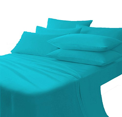 Scala Bedding 710 Thread Count 100% Egyptian Cotton Italian Finish Flat Sheet with Pillowcases California King Top Sheet Turquoise
