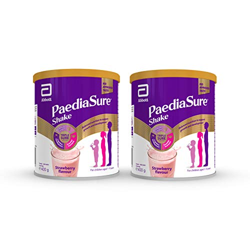 PaediaSure Shake Nutritional Supplement Multivitamin Drink for Kids Flavour, Strawberry, 800g (Pack of 2)