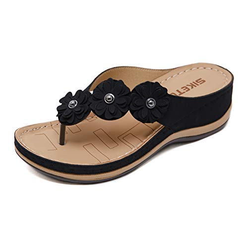 Lazzy Womens Flower Wedge Flip Flops Open Toe Casual Flats Sandals Beach Office Walking Shoes (Black, 8)