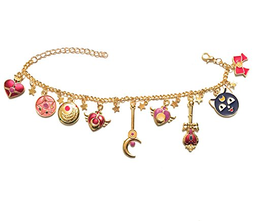 Chiusura a moschettone Giulyscreations - Pulsera Sailor Moon de metal sin níquel con dibujos animados, animados, cristal de plata, corazón, cetro lunar, luna, cristal, manga, fantasía, serie de TV