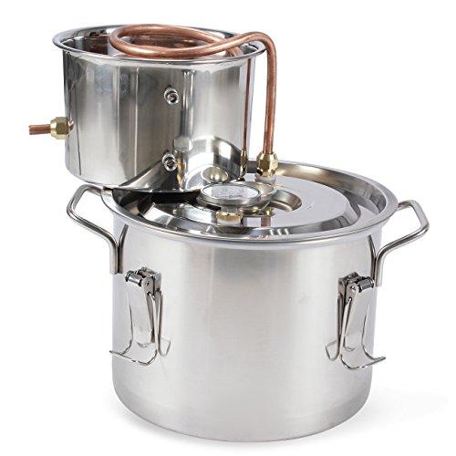 Arksen 2 Gallon Stainless Steel Water Alcohol Distiller Copper Home Brew Moonshine Still Spirits 8L Wine Making, Kit