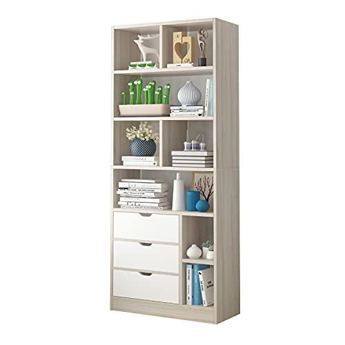 Smart, Estanteria Alta con Estantes y Cajones, Librería de almacenaje, Acabado en Madera Natural y Color Blanco, Medidas: 75 cm (Ancho) x 182 cm (Alto) x 25 cm (Fondo)