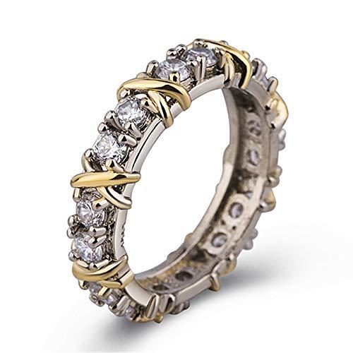 JeromKewin Anillo de plata de ley con cruz de diamante completo, anillo de platino para mujeres y niñas, anillo de promesa de circonita, joyería de doble chapado