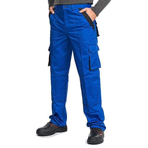 Mazalat® Arbeitshosen männer Herren mit Kniepolstertaschen, Arbeitshose Bundhose, S - XXXL (L, blau)