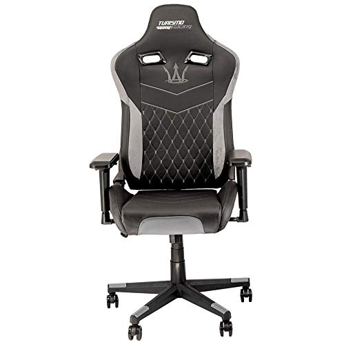 Turismo Racing Modena Series - Black and Grey Gaming Chair – Ergonomic Gaming Seat with Crossover Memory Foam and Premium Pillows for Extra Comfort and Support