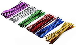 J1L 600PCS 4 in Metallic Twist Ties, 6 Colors, Great for Party Favor Treat Bags and Gifts Wrapping