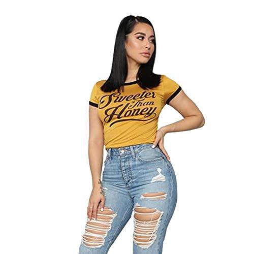YANGPP Women'S Contrast Color Short Base Shirt Letter Print Plus Size Short-Sleeved T-Shirt-Turmeric, Xxl