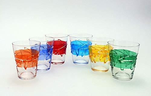 Set di 6 Bicchieri Vita Jazz acqua cl. 25,5 monocolore in vetro dipinti a mano Murano Style Venezia
