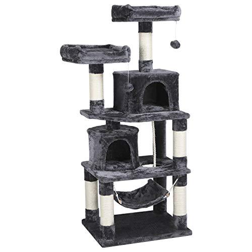 Yaheetech Kratzbaum für Katzen Katzenbaum Stabil H 149 cm Spielbaum robuster Kletterbaum mit Großer Aussichtsplattformen Dunkelgrau