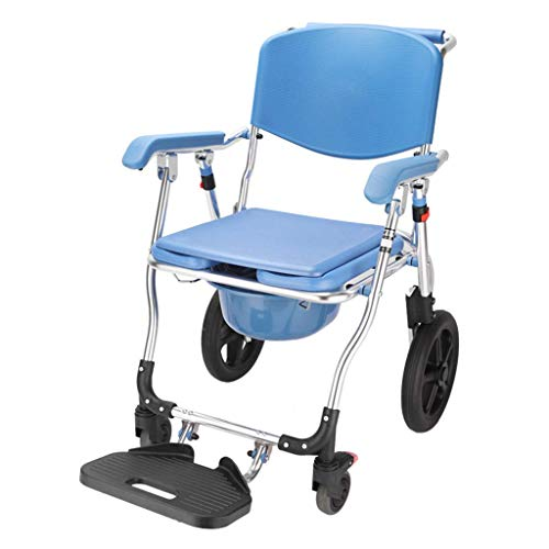 Foldable Wheelchair with Toilet Chair,Widen Commode Padded Cushion Adjustable Height Portable Bedside Commodes 4 in 1 Shower Bath Chair with Wheel for Elder Disabled Pregnant Women