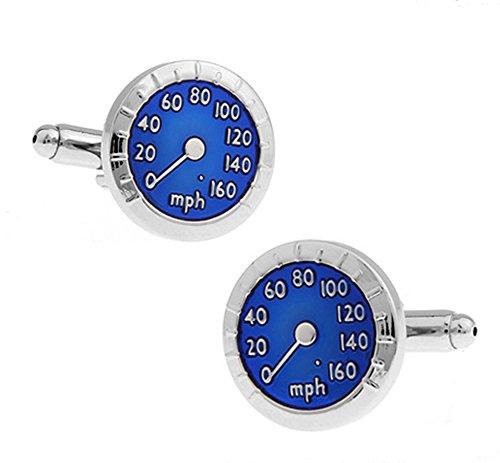 Gemelos de velocímetro plateados y azules en una caja de presentación de lujo. Novedad transporte tematico joyeria