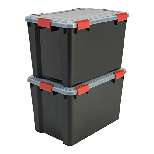Iris Boxen All-Weather Box, 2er-Set, AT-LD, für herausfordernde Lagerbedingungen, Plastik, schwarz, 70 L