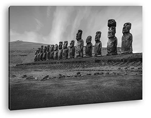 deyoli Steinköpfe auf den Osterinseln Format: 120x80 Effekt: Schwarz&Weiß als Leinwandbild, Motiv fertig gerahmt auf Echtholzrahmen, Hochwertiger Digitaldruck mit Rahmen, Kein Poster oder Plakat