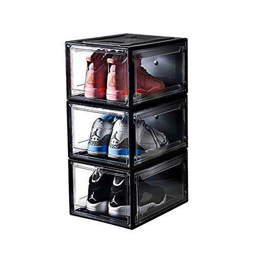 Arkmiido Schuhkarton 3er Set, Stapelbare mit Transparente Tür Kunststoff Schuhorganizer Box Einfach zu Lagernde Schuhe für Damen Herren (schwarz)
