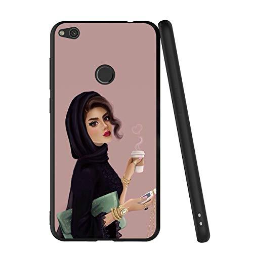 Pnakqil Funda Huawei P8 Lite 2017 Silicona Ultrafina Negra con Dibujos Diseño Suave TPU Gel Antigolpes de Protector Piel Slim Case Cover Cárcasa Fundas para Movil Huawei P8Lite, Café musulmán