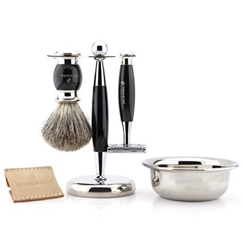 Jag Shaving Kit de afeitado para hombre de doble filo de seguridad con bolsa de cuero, cepillo de afeitado de pelo de tejón, soporte y cuenco perfecto para hombres
